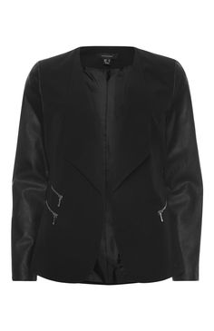 Primark - Schwarze Jacke mit Kunstleder�rmeln