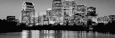 Black and White Skyline, Austin, Texas, USA Landscapes Photographic Print - 107 x 36 cm