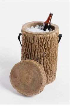 Love this log stump drink cooler - a great idea for summer giveaways!