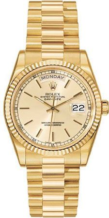 Rolex Day Date Mother of Pearl Diamond Dial President Bracelet 18k Yellow Gold Mens Watch 118238MDP gold bracelets for men