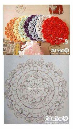 Crochet coasters diagram ganchillo 54 ideas for 2019 Crochet Coaster Pattern, Crochet Mandala Pattern, Crochet Circles, Crochet Doily Patterns, Crochet Diagram, Crochet Round, Crochet Chart, Crochet Squares, Thread Crochet