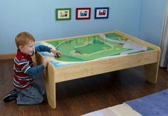 train table  WESLEY IS MAKING A TABLE LIKE THIS FOR LANDON!! HES GUNNS LOVE IT!!