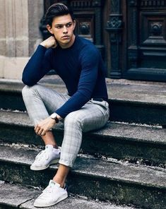 Outfit-Idea-For-Men/ mens fashion sweaters, trendy mens fashion, street . Trendy Mens Fashion, Mens Fashion Sweaters, Sweater Fashion, Fashion Trends, Men's Fashion, Men Winter Fashion, Street Fashion Men, Runway Fashion, Men Street