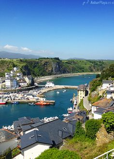 View of the city, the marina and the beaches of Luarca in Asturias, Spain.