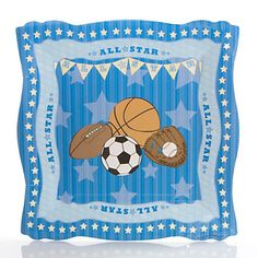 Add a dash of fun to your table with our All Star Sports baby shower dinner plates. Printed on sturdy paper in the same vibrant colors of the All Star Sports baby shower theme, these plates will look fantastic at each of your party placesett Baby Shower Party Supplies, Boy Baby Shower Themes, Baby Boy Shower, Baby Shower Decorations, Baby Shower Plates, Sports Birthday, Blue Color Schemes, Dinner Plates, Sports Baby