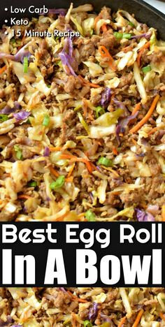 Best Low Carb Egg Roll In A Bowl - Easy Classic Egg Roll taste neatly served in a bowl without all the carbs! Best Low Carb Egg Roll In A Bowl - Easy Classic Egg Roll taste neatly served in a bowl without all the carbs! Egg Roll Recipes, Beef Recipes, Cooking Recipes, Healthy Recipes, Paleo Food, Healthy Chinese Recipes, Carb Free Recipes, Cheap Recipes, Paleo Meals