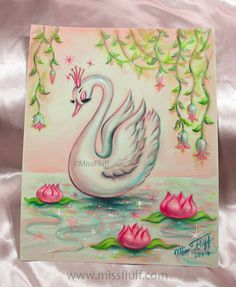 A very beautiful swan wearing a pink tiara floats on a sparkling pond. Perfect for your vintage inspired bathroom or boudoir. The colors are much more vibrant and luscious in person! A Miss Fluff Original! Swan Drawing, Lotus Drawing, Swan Painting, Miss Fluff, Original Art, Original Paintings, 1 Tattoo, Swan Tattoo, White Swan