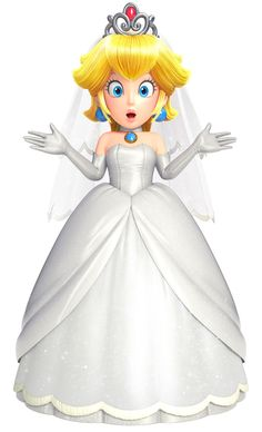 View an image titled 'Wedding Peach Art' in our Super Mario Odyssey art gallery featuring official character designs, concept art, and promo pictures. Mario Kart, Mario Bros., Mario And Luigi, Peach Mario, Mario And Princess Peach, Princess Daisy, Nintendo Characters, Video Game Characters, Princesa Peach