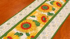 "Yellow Green and White Sunflower Table Runner, Quilted Sunflower Table Runner, Sunflower Decor, Sunflower Theme Table Runner, 15.5"" X 48"""