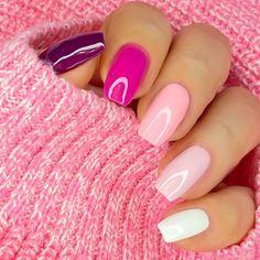 Pink Acrylic Nails, Shellac Nails, Nail Polish, Colorful Nail Designs, Acrylic Nail Designs, Classy Nails, Simple Nails, Gel Powder Nails, Minimalist Nails