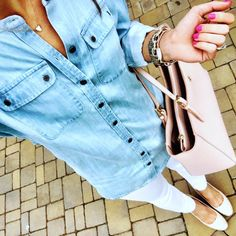 IG @mrscasual <click through to shop this look> soft chambray shirt. White skinny jeans. Nude espadrille wedges. Tory burch York buckle tote. Kendra Scott.