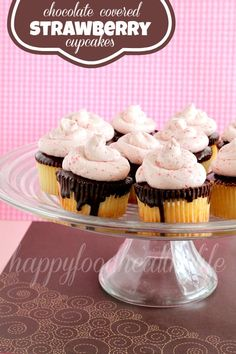 Chocolate-Covered-Strawberry Cupcakes on MyRecipeMagic.com