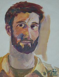 self portrait, yellow, beard, zenker, acylic painting