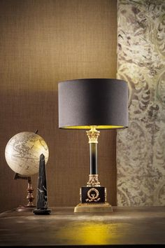 Classic table lamp with black base and base, floral moldings in polished golden brass, cylindrical shade in black satin - Murano glass and crystal - Available on Vraiment Beau - We deliver worldwide - Référence: 20020133 Satin Noir, Classic Lighting, Led, Murano Glass, Black Satin, Classic Style, Wall Lights, Chandelier, Table Lamp