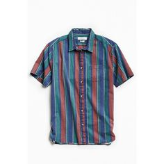 UO '90s Stripe Short Sleeve Button-Down Shirt (58 CAD) ❤ liked on Polyvore featuring men's fashion, men's clothing, men's shirts, men's casual shirts, mens striped button down shirts, urban outfitters mens shirts, mens stripe shirts, mens button front shirts and mens short sleeve button down shirts