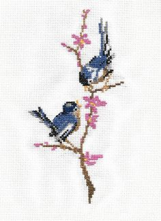 Swallows cross stitch embroidery based on old Slovak embroidery magazine