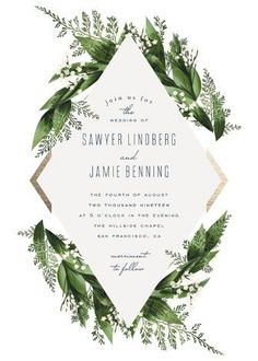 """Diamante"" - Floral & Botanical Foil-pressed Wedding Invitations in Forest by Leah Bisch."