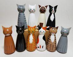 Large Cat Peg Doll One Wooden Cat Cat Decor Cat Lover's