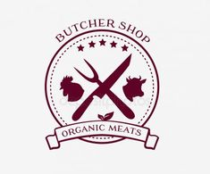 Butcher shop logo design elements, labels and badges in vintage style. Idea of logo for butcher shop and farm market. Clipart, Cow Logo, Farm Logo, Meat Shop, Organic Meat, Creative Kids Snacks, Shopping Quotes, Pear Smoothie, Healthy Filling Snacks