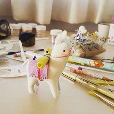 https://flic.kr/p/MFScjK | WIP of a little creature I've been working on...  he's definitely looking less like a Loch Ness monster and more like a llama now :) #gingermelon #gingermelondolls #llama #feltdoll