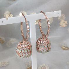 Jhumki Earrings, Cubic Zirconia Earrings, Dangle Earrings, Mint Gold, Different Colors, Desi, Dangles, Stone, Diamond