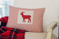 Hand Painted Deer Silhouette Pillow Cover