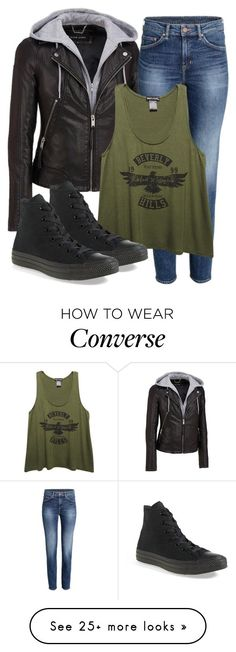 """Kai Inspired Outfit"" by fangsandfashion on Polyvore featuring Wilsons Leather, Wet Seal and Converse"