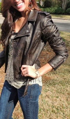 Brown Leather Jacket Over Lace Top