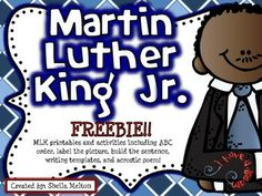 I hope you and your students enjoy this FREE Martin Luther King, Jr. activity set! These printables are perfect for morning work, stations, centers, independent practice, early finishers, homework, sub plans or 5-minute fillers. #martinlutherkingjr #mlk #tptfree #teacherspayteachersfree #sheilamelton #buildthesentence #teacherspayteachers #januaryprintables #education