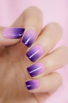 Lilac to purple ombre nails. Click for mani details.