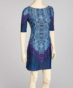 Take a look at this Blue Kaleidoscope Dress - Petite by Jemma Apparel on #zulily today!