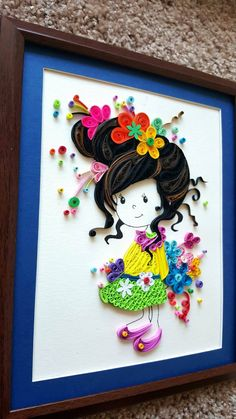 Paper Quilled 'Evelynn' cute little girl Doll Nursery