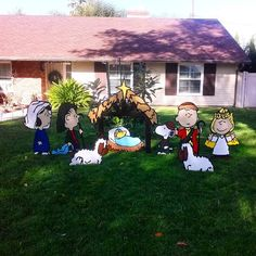charlie brown 9 piece nativity set christmas yard artchristmas yard decorationsoutdoor decorationscozy christmaschristmas