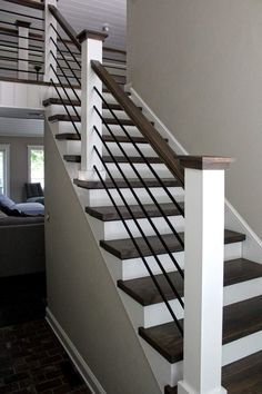 Horizontal Hollow Iron Bar Railing - - Stair Parts USA Horizontal Hollow Iron Bar Railing / Inch x 8 Foot - Hollow Iron - Stainless Steel Finish Inch x 8 Foot - Hollow Iron - Satin Black Wall thickness: Indoor Stair Railing, Interior Stair Railing, Modern Stair Railing, Stair Railing Design, Modern Stairs, Diy Staircase Railing, Stair Case Railing Ideas, Black Railing, House Stairs Design