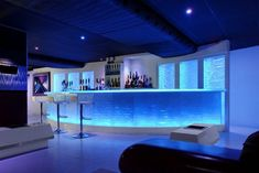 Design Ideas, Awesome Bar Designs With Blue Light Idea For Romantic Room Decor: Cool Bar Designs in Various Ideas and Styles Lounge Design, Bar Lounge, Hookah Lounge, Modern Home Bar Designs, Home Bar Rooms, Nightclub Design, Nightclub Bar, Bar Led, Contemporary Bar