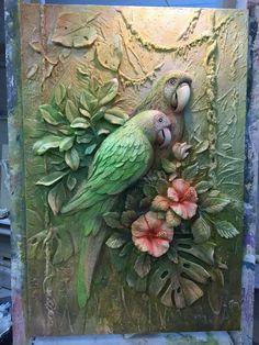 Clay Wall Art, Mural Wall Art, Sculpture Painting, Mural Painting, Peacock Wall Art, Easy Canvas Art, Plaster Art, Clay Art Projects, Leaf Art