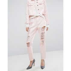 Dr Denim Nora Mom Jean with Rips and Abrasions ($79) ❤ liked on Polyvore featuring jeans, pink, high waisted ripped skinny jeans, high waisted ripped jeans, high-waisted jeans, tall skinny jeans and destroyed skinny jeans