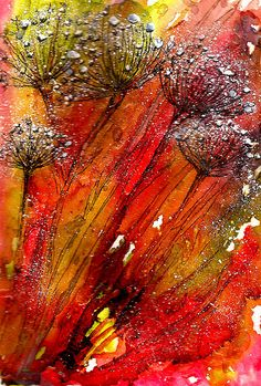 ALCOHOL INK...& MIXED MEDIA FIELD GRASSES IN SNOW It snowed this week...so thought I would try to portray what it looked like in the field. This is ALCOHOL INK in the background with MICRON & ELEGANT WRITER PENS USED ON TOP...PLUS A SPATTERING OF ACRYLIC.