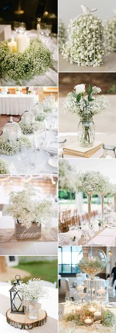 Save Your Budget on Weddings with 45 Baby's Breath Ideas baby's breath wedding centerpieces ideas Rustic Wedding Centerpieces, Wedding Flower Arrangements, Wedding Flowers, Diy Centerpieces, Diy Flowers, Bird Cage Centerpiece, Centerpiece Flowers, Rustic Flowers, Flower Bouquets