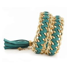 Turqouise Leather Double Wrap Bracelet With A Tassel
