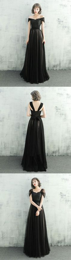 Black lace tulle long prom dress, black evening dress