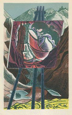 Edward Bawden: illustration for the poem 'Mountains' by W. Royal College Of Art, Illustrations And Posters, Magazine Art, Art Forms, Printmaking, Illustrators, Wonderland, Illustration Art, Marvel