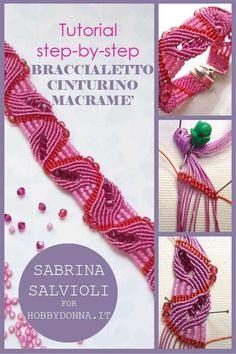 Tutorial step by step per realizzare  un braccialetto - cinturino in macramè Tutorial step by step to create a macrame bracelet-strap
