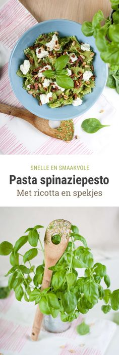 Recept voor pasta met spinaziepesto, ricotta en uitgebakken spekjes. Makkelijk en super lekker! Bastilla, Pesto Pasta, Avocado Toast, Guacamole, Pasta Recipes, Ricotta, Tacos, Good Food, Food And Drink