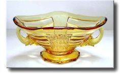 Art Deco Amber Glass 'Elephant' Bowl & Flower Frog - Sowerby - c.1930's