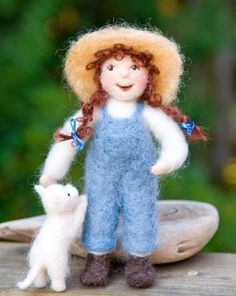 Farmer girl with cat
