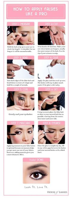 How to apply false eyelashes like a pro. I want to try to do this!!!!