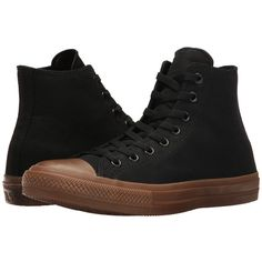 Converse Chuck Taylor All Star II Gum Hi (Black/Black/Gum) Classic... (£64) ❤ liked on Polyvore featuring shoes, sneakers, black high tops, black high top shoes, black sneakers, arch support shoes and star sneakers