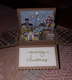 Lawn Fawn Scalloped Pop up Card Box, Winter Village, Stary Night.