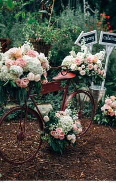This vintage bicycle with floral detail by Barbara Butsko adds a unique decor touch | Photograph by Joel Bedford | Real weddings